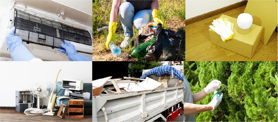 不用品回収、掃除、害虫駆除の様子
